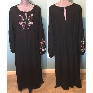 GAP Dresses - Boho Maxi Dress Embroidered Floral XL to 2X NWOT